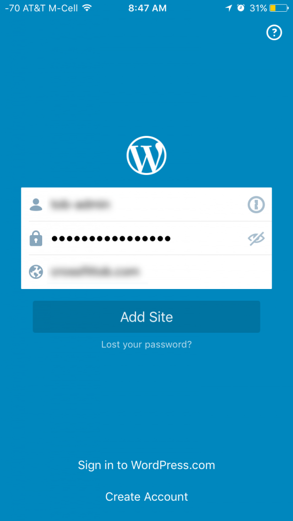 WordPress App Login